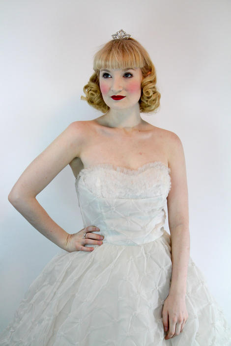 Vintage 1950's Princess Dress White Rockabilly Prom Wedding Gown Burlesque  Size XS by WalkinVintage