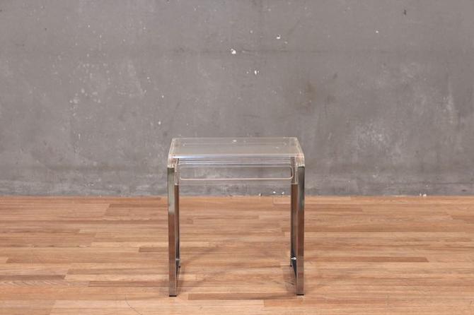 Petite Mod Clear & Chrome Side Table