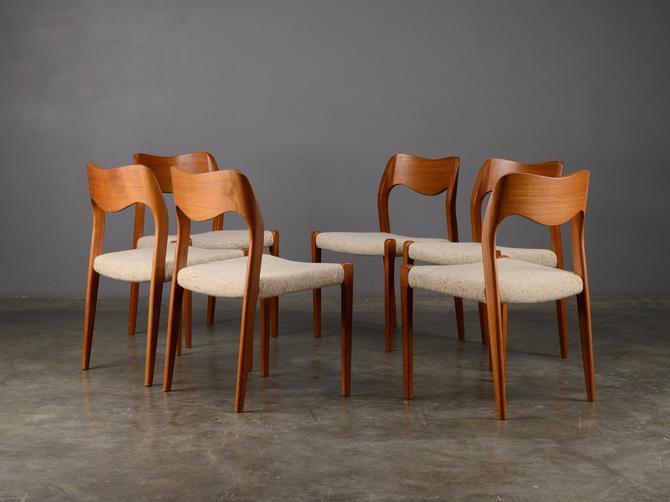 6 Danish Modern Dining Chairs Moller Model 71 Teak by MadsenModern