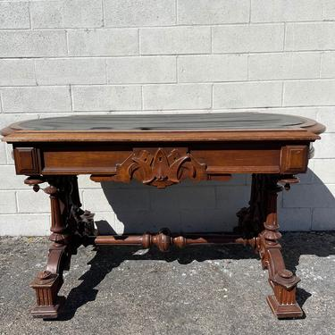 Antique Eastlake Desk Leather Top Writing Vintage Regency French Provincial Vanity Shabby Chic Victorian Wood Table CUSTOM PAINT AVAIL by DejaVuDecors