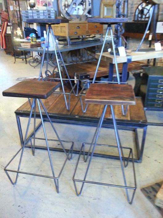 Set Of Bar Stools With Salvaged Wood Top by StateStreetSalvage
