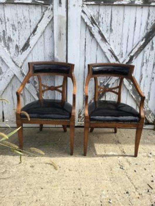 Pair of Designer Patent Leather Chairs