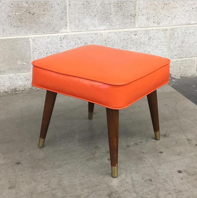 Vintage Ottoman Retro 1960s Mid Century Modern + Orange Vinyl + By Crawford MFG + Square Shape + MCM Pointed Wood Legs + Home Decor by RetrospectVintage215