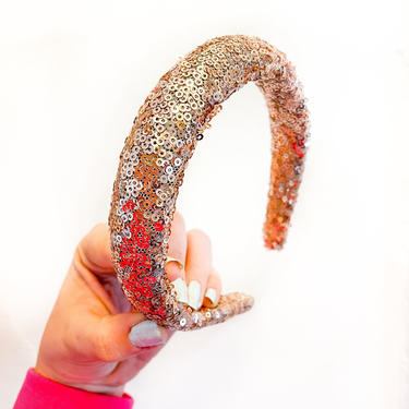 Sequin Padded Headband - / Rose  / Champagne / Gold / Glam / Silver Gatsby / Woman / Tall Big Poof  / by IrisAtelierCouture