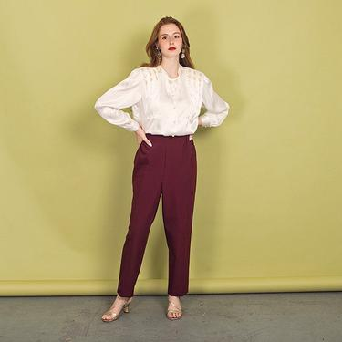 80s Wine Red Elastic Trousers Vintage High Rise Straight Leg Pants by AppleBranchesVintage