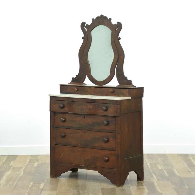 Antique Victorian Dresser W Marble Top & Mirror