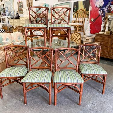 Set of Six Ficks Reed Rattan Chippendale Chairs