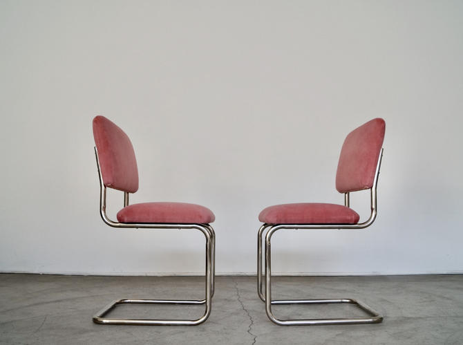 Gorgeous Pair of Vintage Mid-century Modern Hollywood Regency Dining Chairs Reupholstered in Pink Velvet! by CyclicFurniture