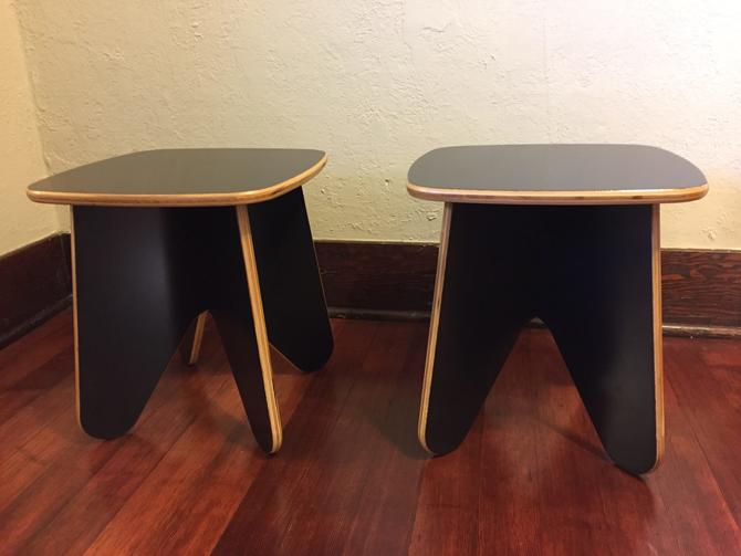 Black Plywood Vintage End Table Pair