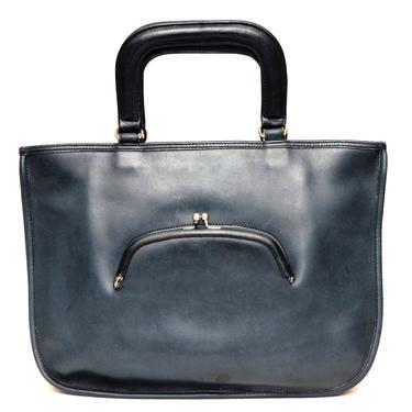 SOLD Coach Vintage Watermelon Tote Bonnie Cashin Kisslock Navy Blue Leather Bag Purse by TradingTraveler