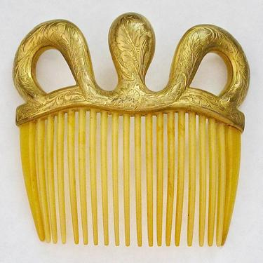 Edwardian Gilt Foliate Embossed Hair Comb, Art Nouveau Comb, Antique Hair Comb, Bridal Comb, Hair Jewelry, Hair Decoration by CombAgain