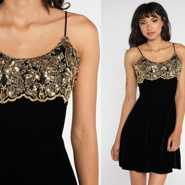 Black VELVET Dress Gold Sequin Dress Mini 90s Cocktail Party Spaghetti Strap 1990s Vintage LBD Sleeveless Fit and Flare Club Extra Small xs by ShopExile