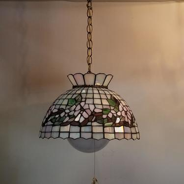 Vintage Single Bulb Stained Glass Pendant Light with Pull Chain and Glass Globe