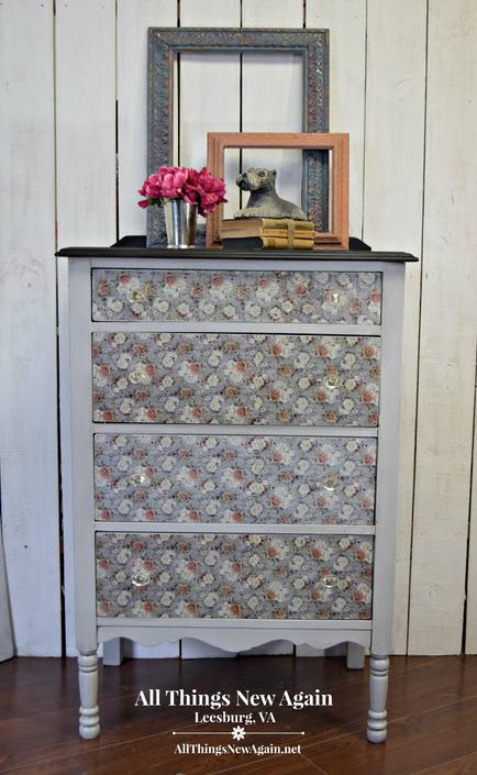 Dresser Painted Gray with Floral Decoupage | Chest of Drawers | Gray Dresser | Secretary Desk | Secretary Dresser | Bureau by AllThingsNewAgainVA