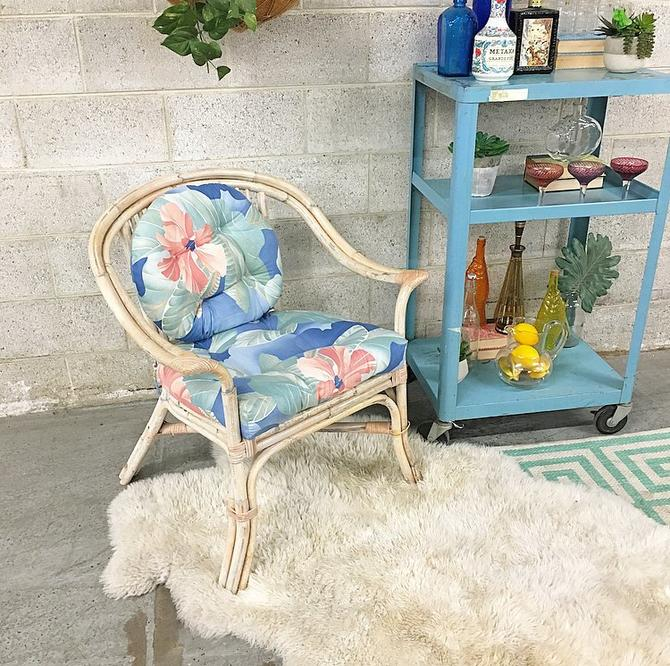 LOCAL PICKUP ONLY Vintage Chair 1980s Light Creme Colored Bamboo Frame Indoor + Outdoor Patio + Boho Lounge Chair with Blue Floral Cushions by RetrospectVintage215