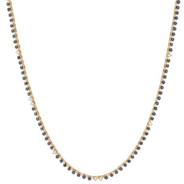 Diana Sapphire + Diamond Rounds Half Riviera Necklace - Yellow Gold