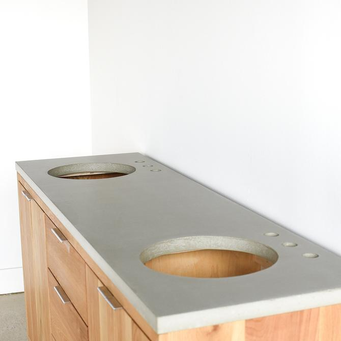 Concrete Vanity Top / Double Undermount Sinks by wwmake