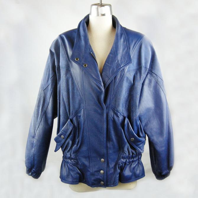 Vintage 80's Leather Biker Jacket - blue