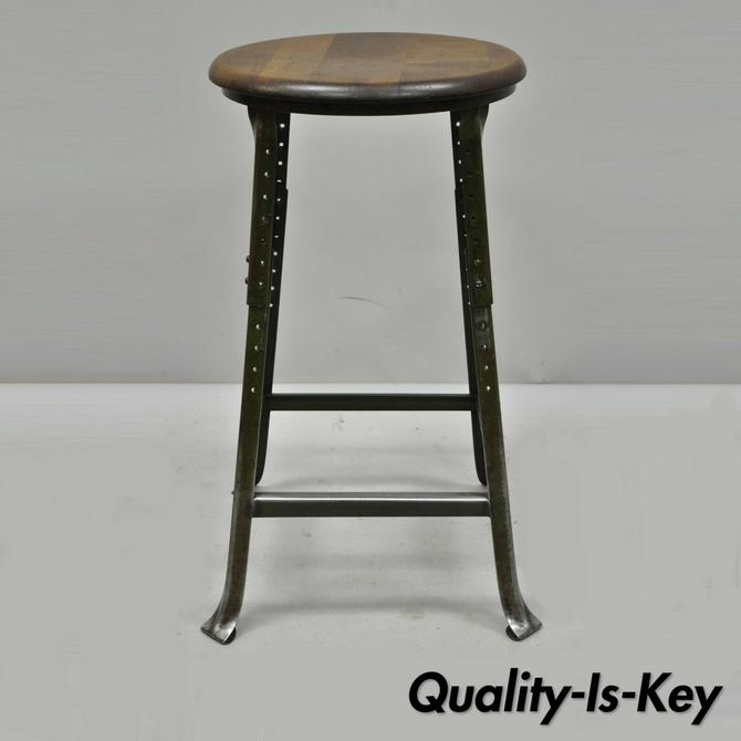 Vintage Mid Century Industrial Modern Steel Metal Work Stool by Hallowell