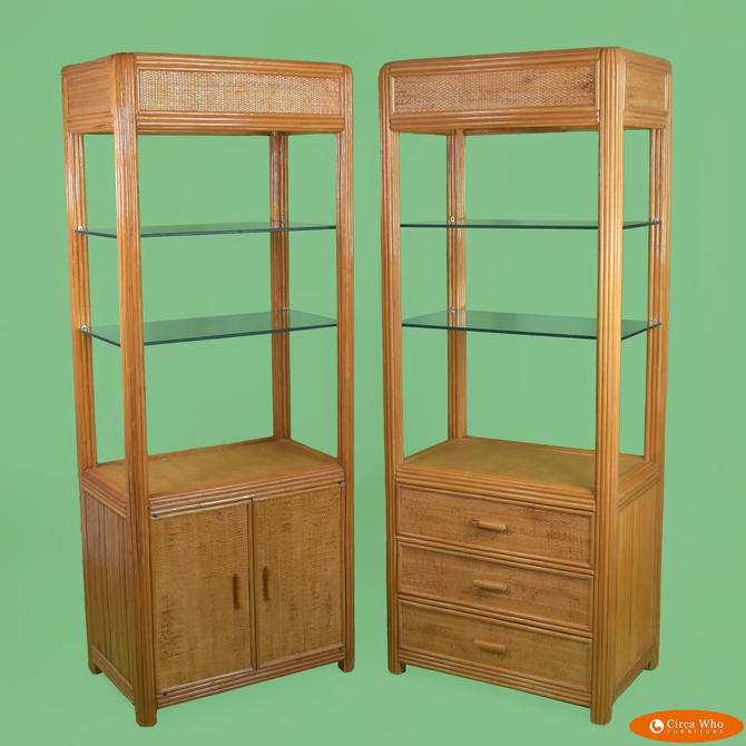 Pair of Woven and Split Rattan Cabinets