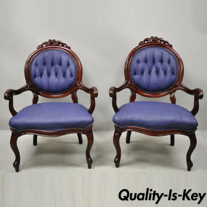 Antique Victorian Rose Carved Mahogany Frame Fireside Parlor Arm Chairs - a Pair