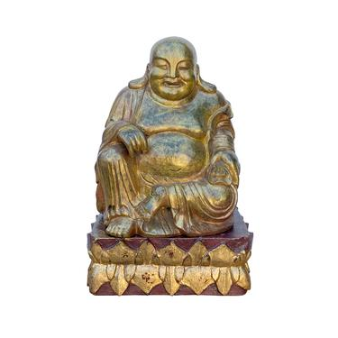 Chinese Rustic Distressed Golden Paint Happy Laughing Buddha Statue ws1610E by GoldenLotusAntiques