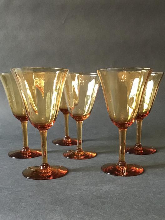 Vintage Amber Wine Glass - Set of Six