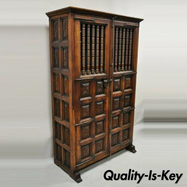 Vintage Spanish Renaissance Carved Cabinet Cupboard Raised Panel Spindle Carving