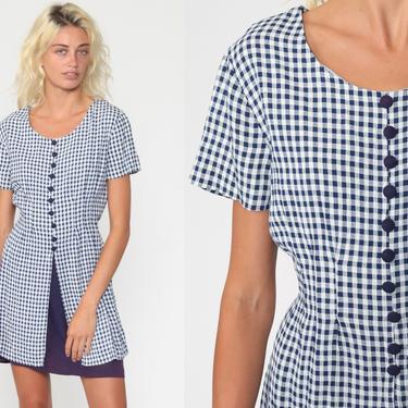 Blue Gingham Dress 90s Does 90s Mini Dress Button Up Checkered Print 1990s Shift Short Sleeve Plaid Vintage MiniDress Medium 8 by ShopExile