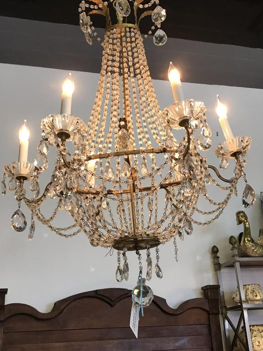 Antique French 6 Arm Chandelier with Macaroni crystal beading