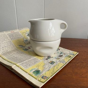 Vintage Russel Wright Iroquois Series Tea or Coffee Stacking Sugar & Creamer Set, Cream White, MCM Midcentury Dinnerware by BlackcurrantPreserve