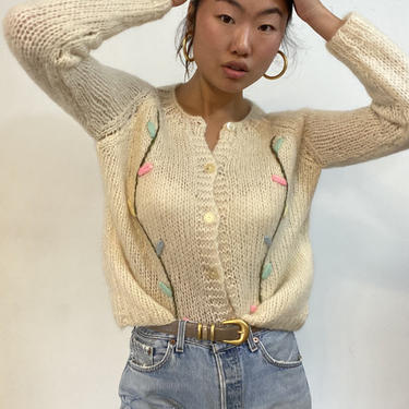 50s Italian mohair hand knit floral sweater / vintage creamy white hand knit embroidered mohair flower cropped raglan cardigan sweater | M by RecapVintageStudio