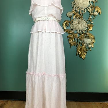 1970s maxi dress, prairie style, vintage 70s dress, cottagecore, pale pink cheesecloth, trivia dress, ditsy floral, peplum dress, bohemian by BlackLabelVintageWA