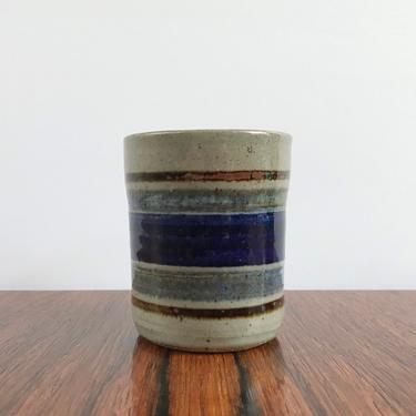 Richard Peeler Pottery Small Tumbler Cup with Banded Decoration by TheThriftyScout