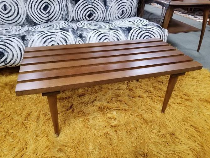 Mid-Century Modern walnut slat bench / coffee table
