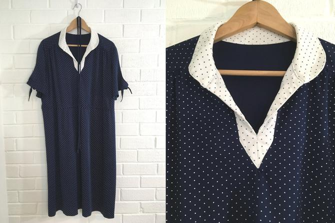 Vintage Navy Polka Dot Dress 70s Blue White 1970s Tie Sleeves Tie Waist V Neck Short Sleeve Women's XL XXL Plus Curvy Volup by CheckEngineVintage