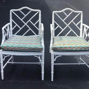 Vintage pair of faux bamboo chairs with cane seats by HolbrookBazaar