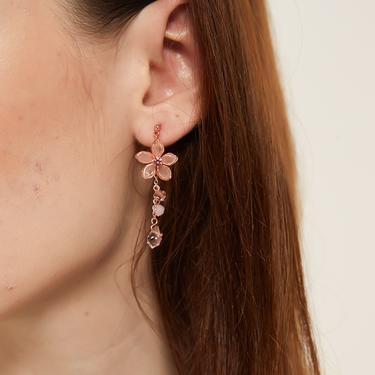 alana rose gold Flower earrings, pink sakura earrings, rose gold cherry blossom dangle earrings, dangle drop flower jewelry, floral earrings by MelangeBlancDesigns