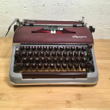 1958 Olympia SM4 Portable Typewriter Germany w Case, New Ribbon + Spare, Owner's Manual by Deco2Go