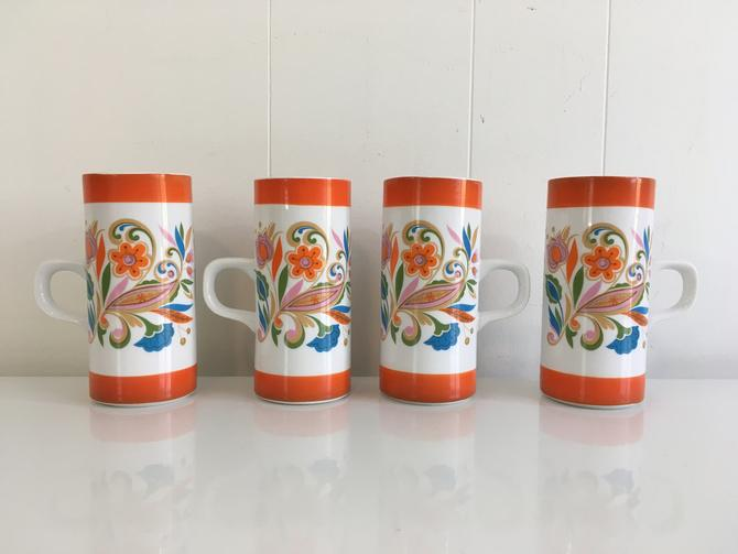 Vintage Royal Crown Arnart Smug Mugs Psychodelic Mug Set of Four (4) Floral Pattern Coffee Tea Cocktail Hot Cocoa 1960s 60s Kitsch Orange by CheckEngineVintage