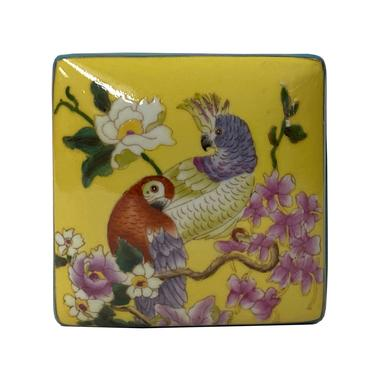 Contemporary Yellow Flower Painting Square Porcelain Box - Jewelry Box ws1174E by GoldenLotusAntiques