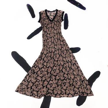 90s Black Based Floral Rayon Bias Cut Maxi Dress / Black Lace Trim / Tank Dress / Sleeveless / Grunge / Medium / Delias / Sassy Magazine by badatpettingcats