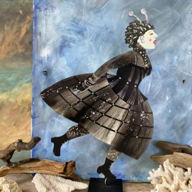 Vintage Metal Woman Sculpture, Black Halloween Costume, Free Spirit Arty By Judie Bomberger, 1999 Signed By Artist, Victorian Goth Dress by luckduck