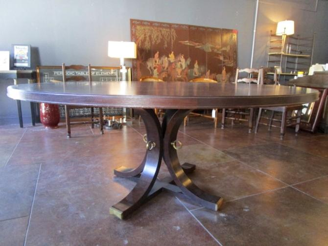 LARGE ROUND PEDESTAL DINING TABLE IN DARK WALNUT WITH BRUSHED BRASS DETAIL