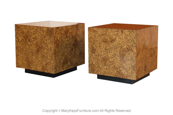 Mid Century Faux Tortoise Shell Cube Tables by Marykaysfurniture