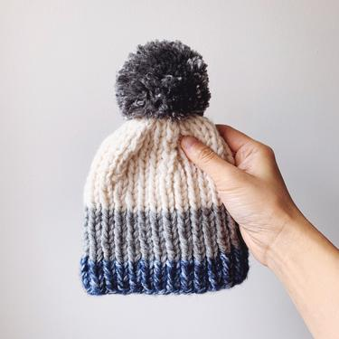 Little Minnows Hand Knit Baby Beanie Hat // Off White, Gray, and Blue with Gray Pompom by mammothandminnow