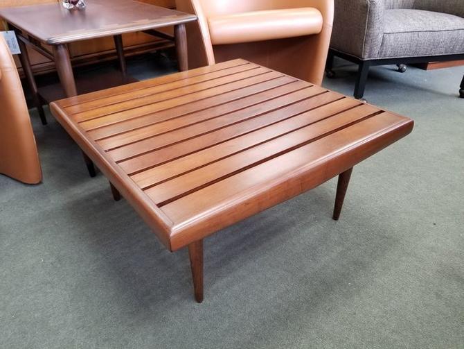 Mid-Century Modern square slat top coffee table
