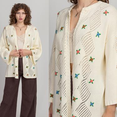 70s LeRoy Floral Knit Cardigan - One Size | Vintage Off-White Open Fit Diamond Eyelet Embroidered Flower Sweater by FlyingAppleVintage