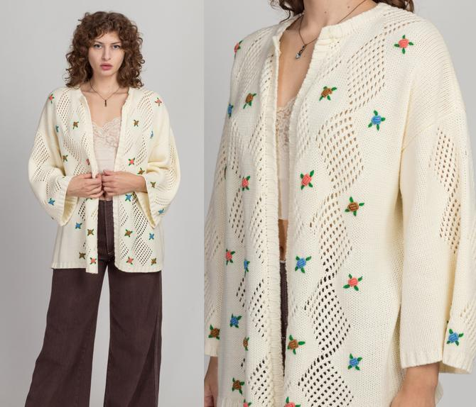 70s LeRoy Floral Knit Cardigan - One Size   Vintage Off-White Open Fit Diamond Eyelet Embroidered Flower Sweater by FlyingAppleVintage