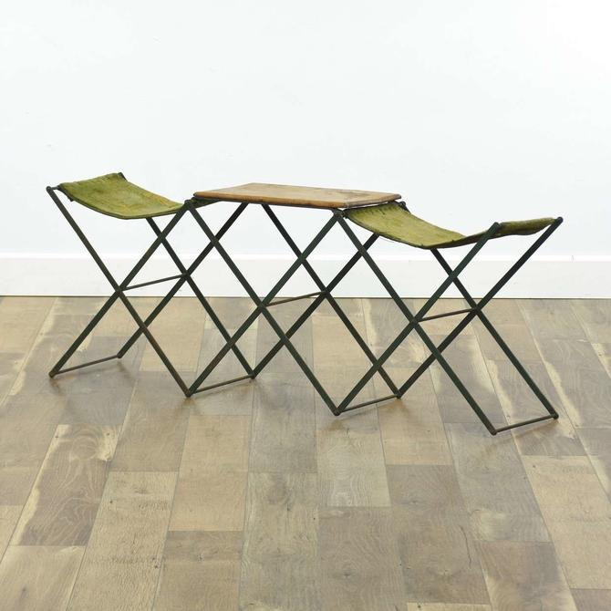 Folding Camping Chairs & Wood Table Set